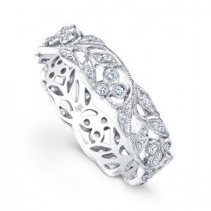 Floral Diamond Wedding Band by Beverley K