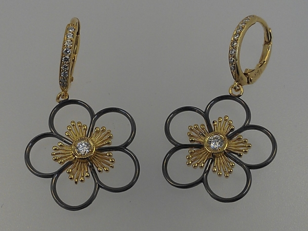 18k Gold Flower Drops by Norman Covan