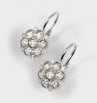 Antique Style Diamond Floral Earrings by Cherie Dori
