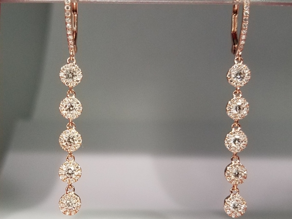 Rose Gold Diamond Drop Earrings by Shy Creation