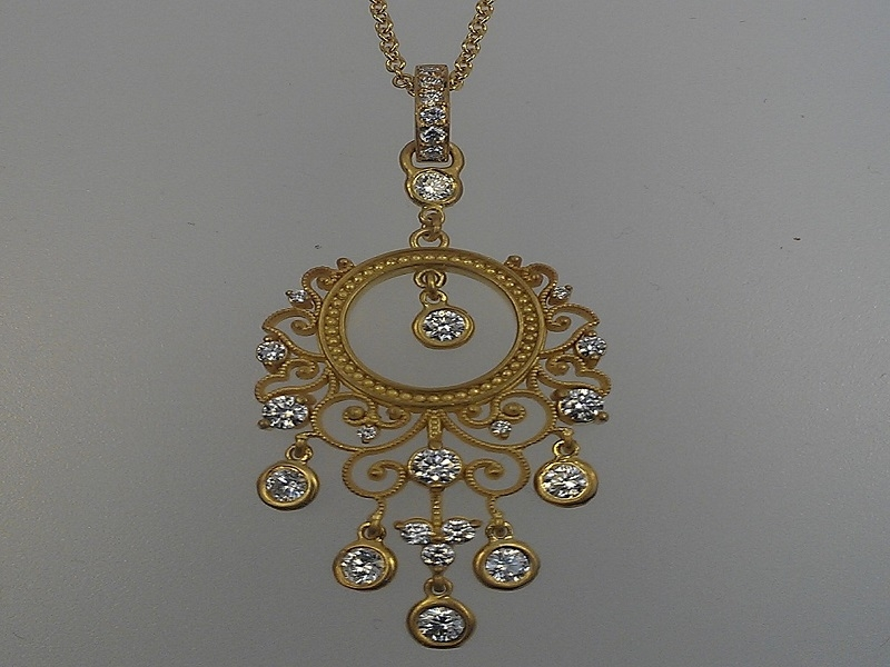 18k Ornate Pendant by Norman Covan