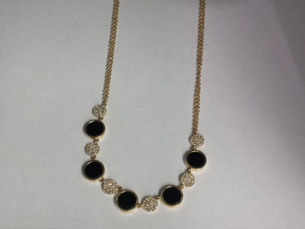 Onyx & Diamond Double Chain Necklace by Shy Creation