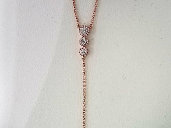 Rose Gold & Diamond  Lariat Necklace by Shy Creation