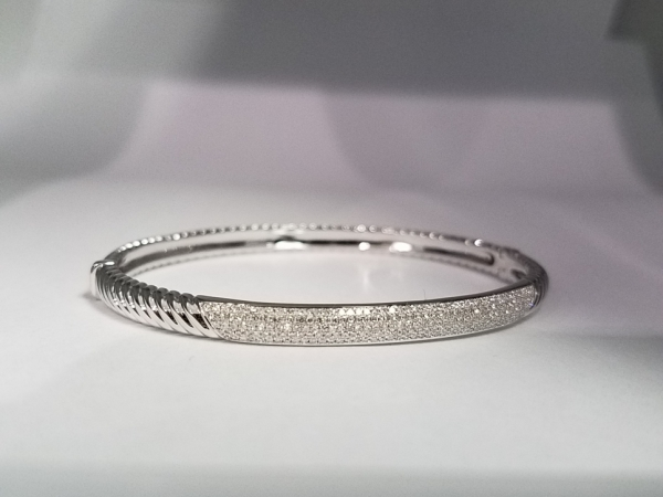 White Gold & Diamond Bangle by Shy Creation