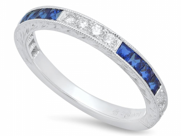 Sapphire & Diamond Band Ring by Beverley K