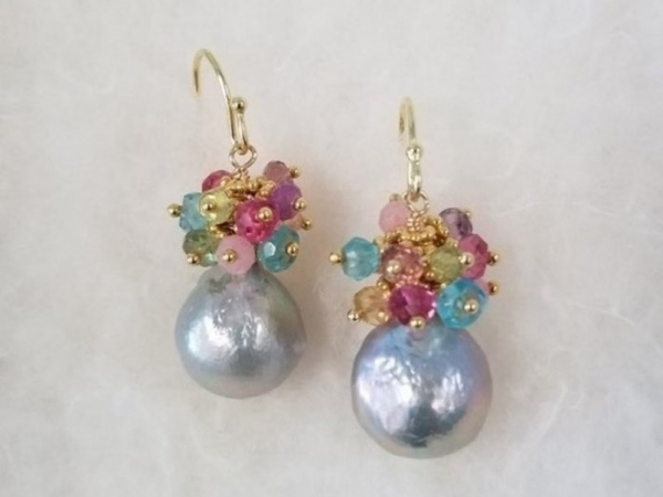 Silver Pearls & Colorful Gems by Tashka by Beatrice