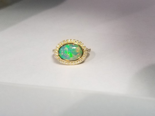 Opal Ring with Diamond Halo by Yael Designs