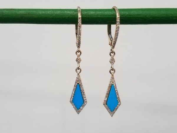 Turquoise & Diamond Earrings by Madison L