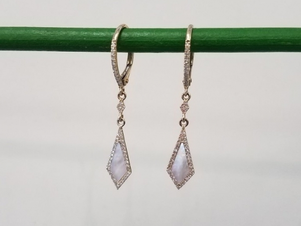 Mother of Pearl & Diamond Earrings by Madison L