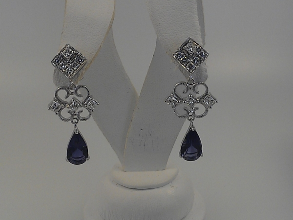 Iolite Drop Earrings with Diamonds by Wallach Custom Designs