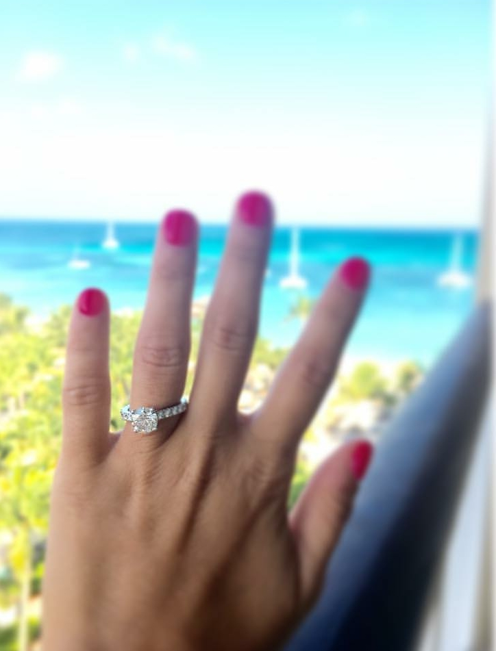 Beach Proposal, Diamond Engagement ring, Wallach Jewelry Designs